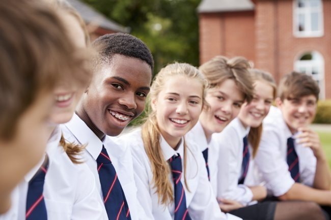 students outside British high school