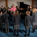 Private Prep school children in a music lesson in the United Kingdom
