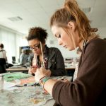 British and international exchange students in an art class in a UK state college