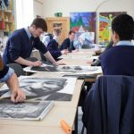 Exchange students with Irish students in art class at high school in Ireland