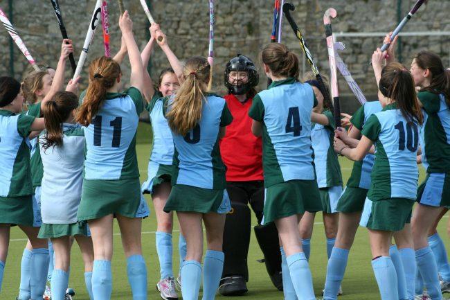 High school hockey team score a goal in Ireland