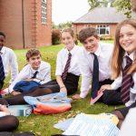 Irish students and exchange students outside school in Ireland