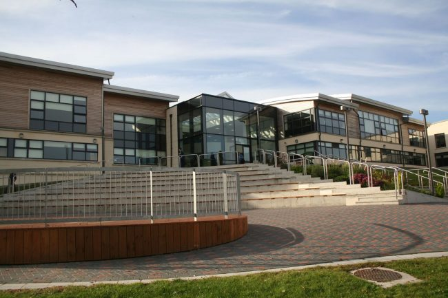 Front aspect of a modern standard day school in Ireland