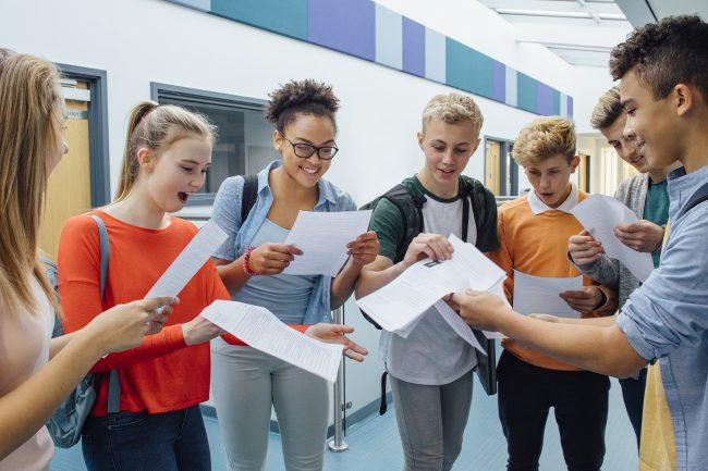 students recieve exam results