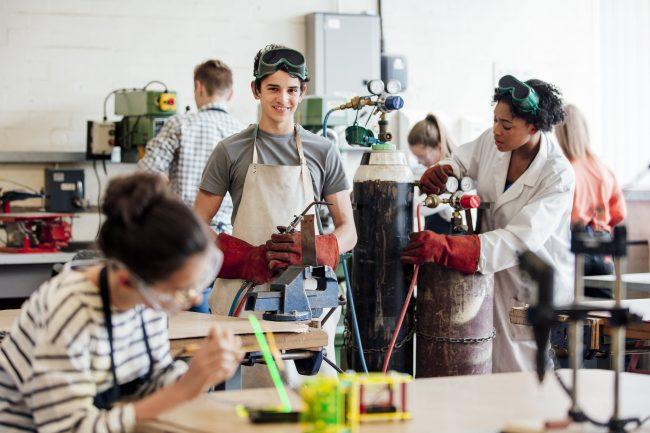 Students in high school art class